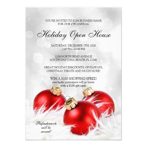 elegant christmas holiday open house invitations. Black Bedroom Furniture Sets. Home Design Ideas