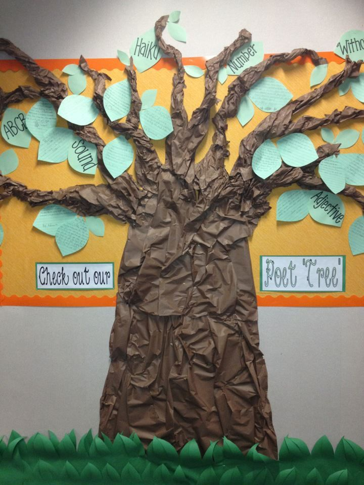 3rd Grade Poet Tree I Wrinkled Twisted And Stapled The Brown Butcher Paper To The Wall And Then Let Classroom Crafts Camping Theme Classroom Arts Literacy