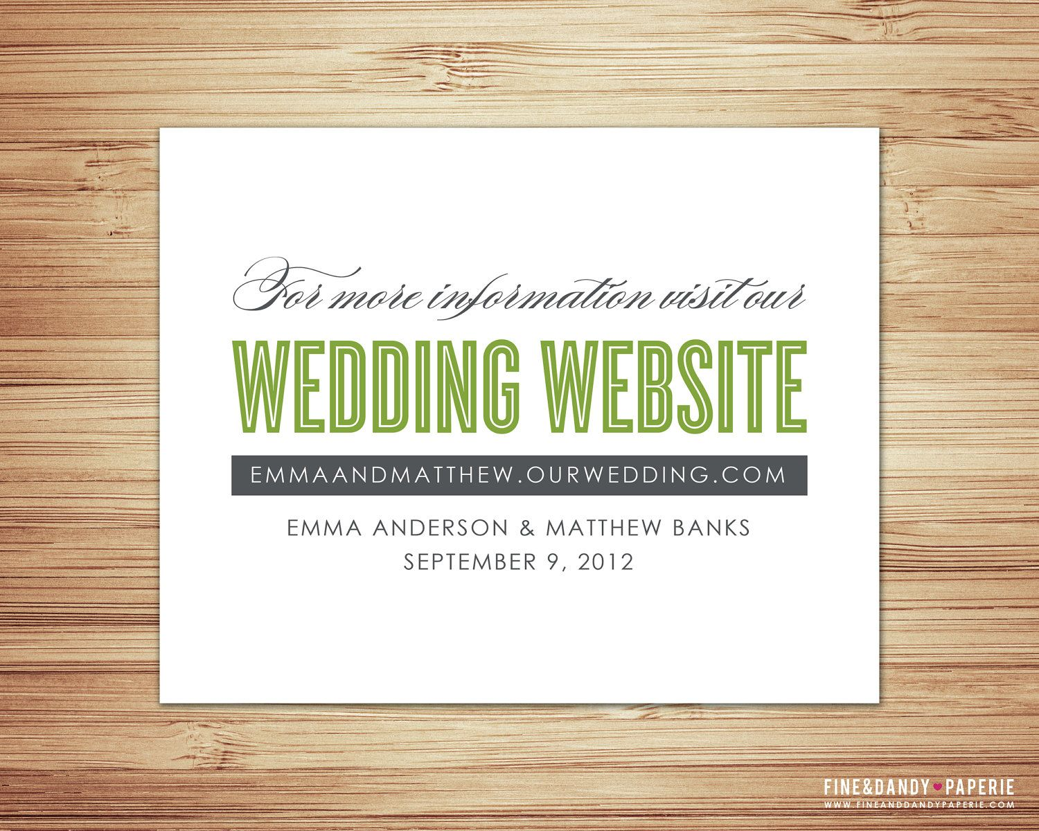 Wedding website insert for invitation instead of layers of