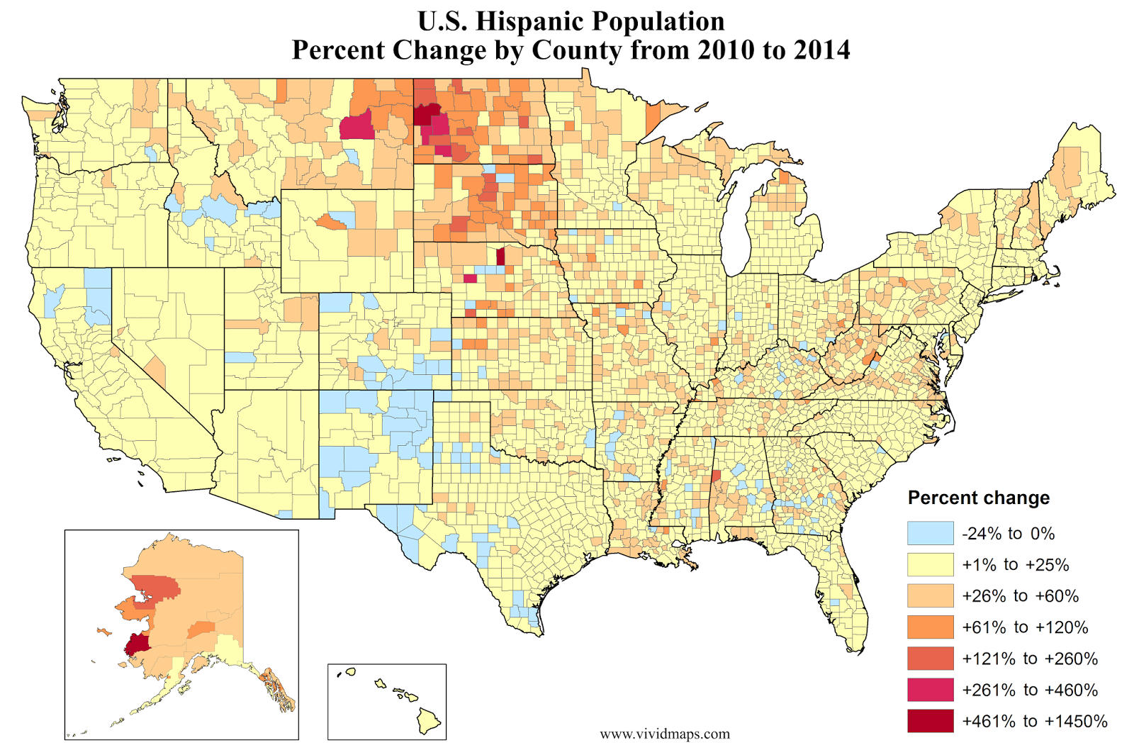 Asian Population In Us Map.U S Hispanic Population Percent Increase By County Ethnic Maps