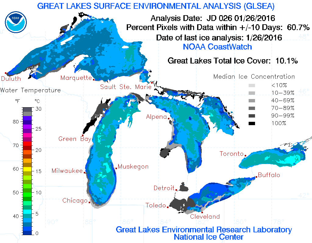 Great Lakes Ice Report for 1/27/16 We lost 4 Great