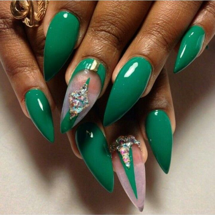 Greeb Stiletto Acrylic Nails w/ Rhinestones | Nails 2 ❤ | Pinterest