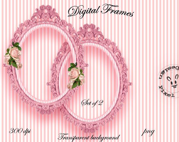 PINK ORNATE FRAME Cliparts for Photographer Web Blog Digital Scrapbooking Frame…