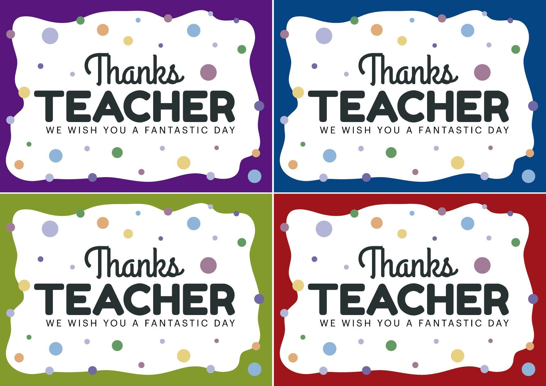 Cards To Print Teacher S Day Immediate Download Celebration