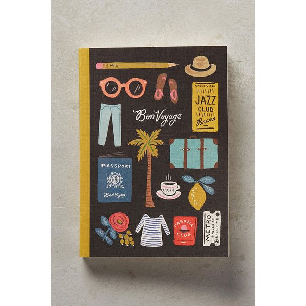 Rifle Paper Co. Travel Essentials Journal ($15) ❤ liked on Polyvore featuring home, home decor, stationery and black motif