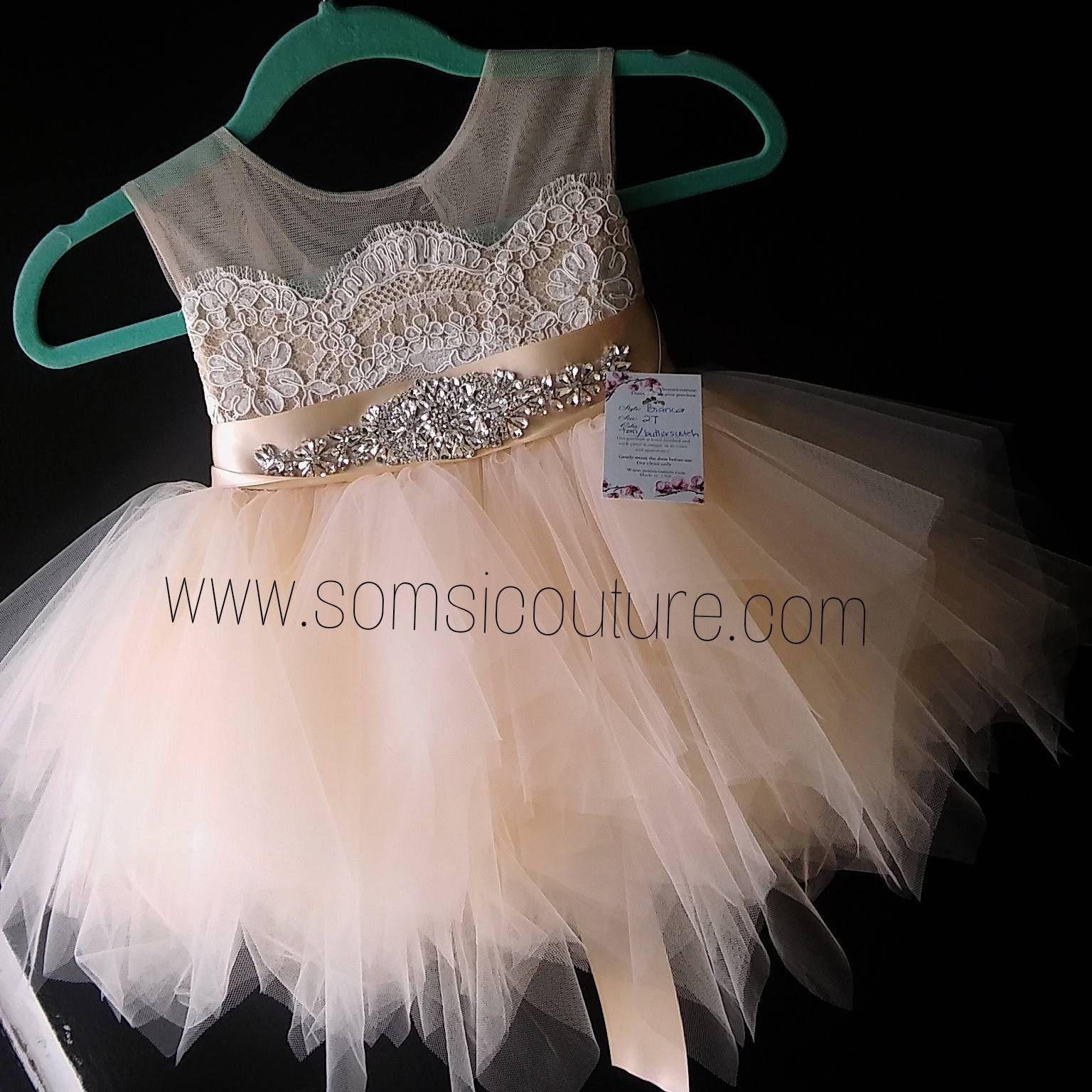 6f884d7ae flower girl dress 'Bianca' with rhinestone sash, tan sheer netting ...
