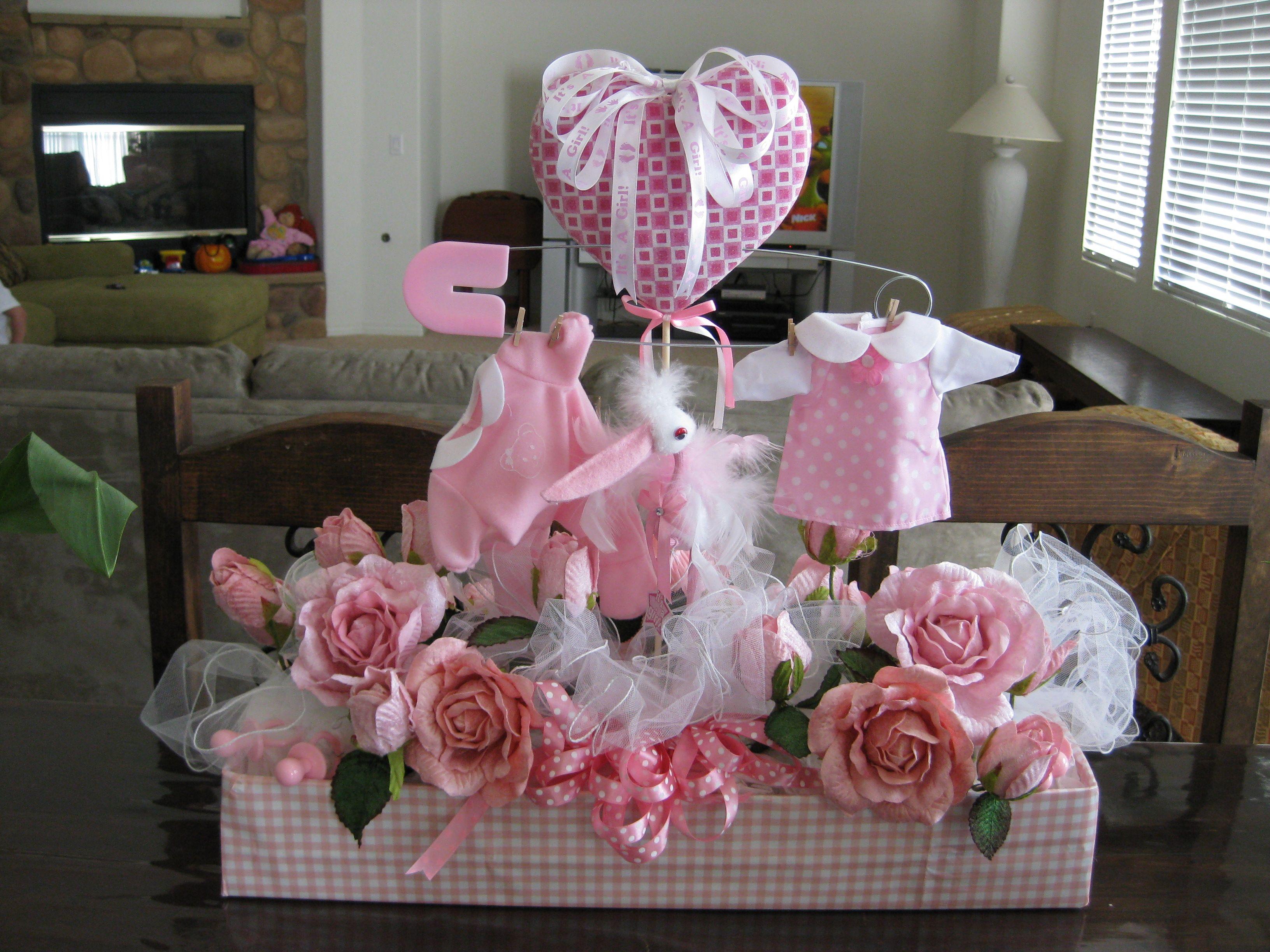 baby girl flower arrangement | diaper wreath | Pinterest