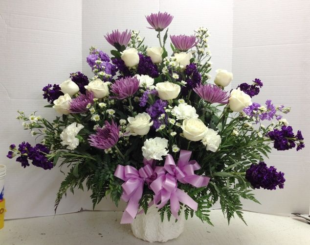 Love These Beautiful Purple And White Flowers Designed By Roadrunnerflori Funeral Flower Arrangements Purple Flower Arrangements Funeral Floral Arrangements