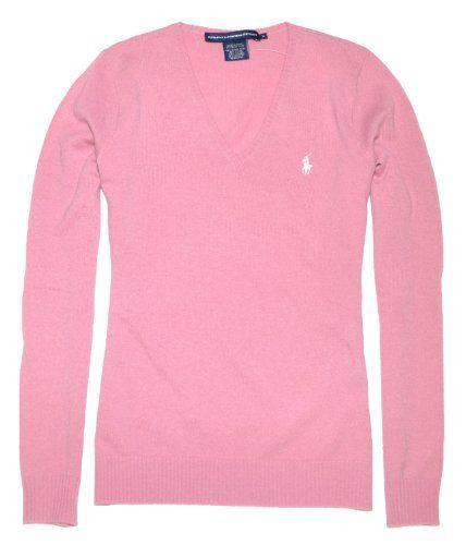 76baef1e7 Ralph Lauren Sport Women Wool Cashmere Pony Logo V-Neck Sweater ...