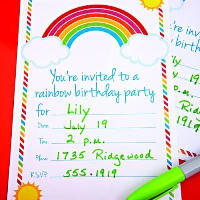 Free printable rainbow birthday party invitation for a childs free printable rainbow birthday party invitation for a childs party filmwisefo