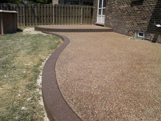 Exposed Aggregate Patio | Exposed Aggregate Surface With Stained Accent  Border. Replaced .