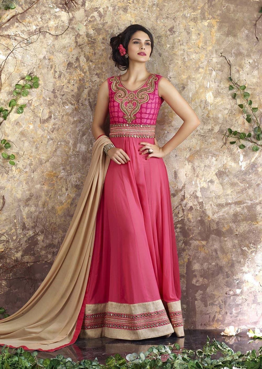 cc8f78a91a Pink floor Length front open anarkali pant style suit in georgette ...