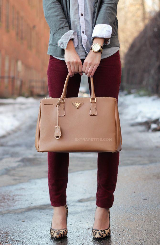 0a18c64e371c New Prada Handbag. ExtraPetite.com - Crimson Corduroy Crested Oxford (