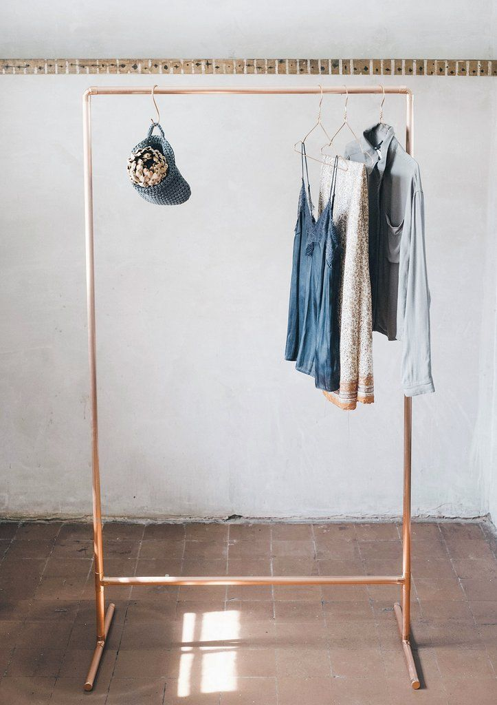 770c8e734 Tall Light   Airy Copper Pipe Clothing Rail   Garment Rack   Clothes Storage