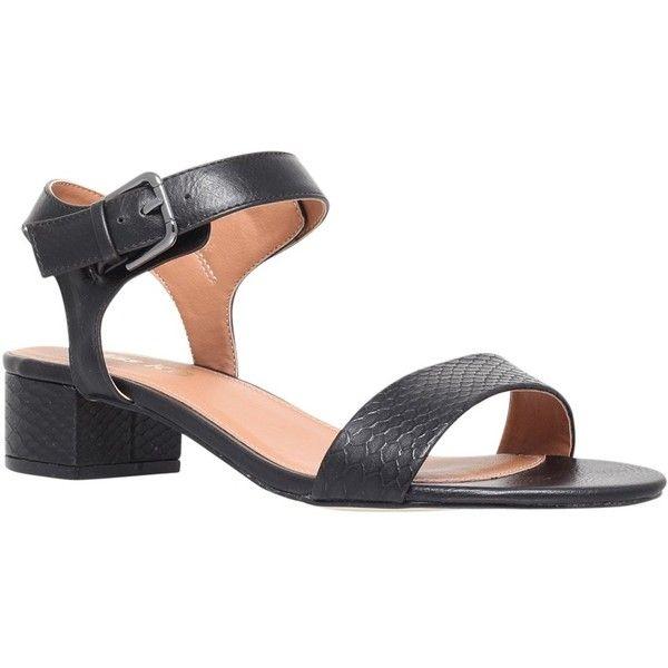Miss KG Pamela Block Heeled Sandals ($52) ❤ liked on Polyvore featuring shoes, sandals, black, black flat shoes, mid-heel sandals, low block heel sandals, black heeled sandals and ankle strap heel sandals