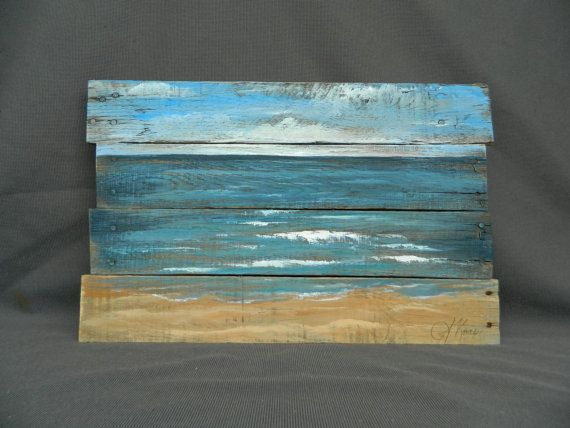 Reclaimed Wood Pallet Art Hand painted by TheWhiteBirchStudio - Reclaimed Wood Pallet Art, Hand Painted Beach Scene, Seascape