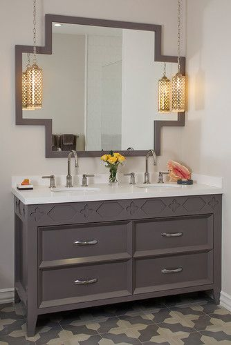 Love This Mirror Dark Grey Vanity Cabinet With Matching Tiles On