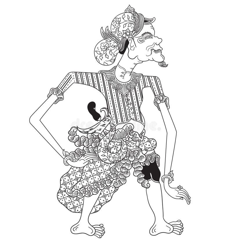 Gonjingmiring A Character Of Traditional Puppet Show Wayang Kulit From Java Indonesia Vector Illustration Vector Free Shadow Puppets Vector Images