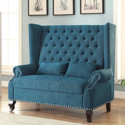 Alcacer Collection Mid Century Style Cabriole Legs High Back Wing Chair Love Seat With Teal Fabric Upholstery Tufted Measures 57 X 28