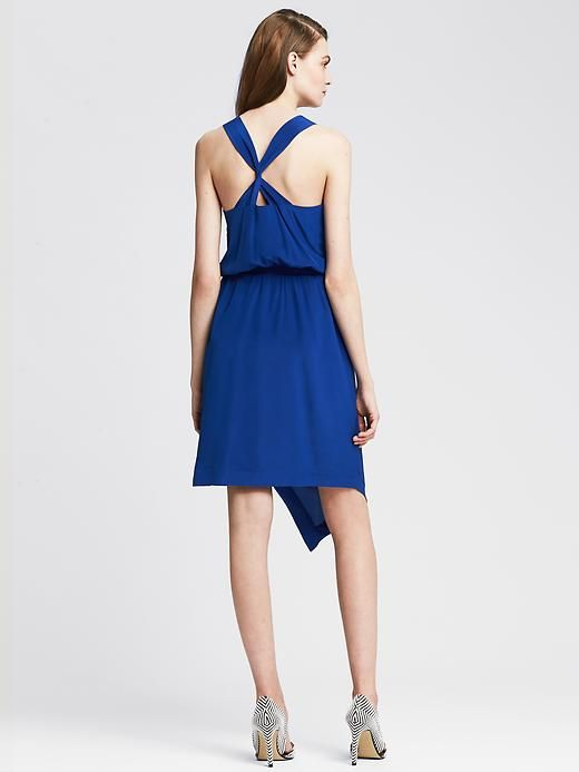 Blue Silk Cross-Front Dress Product Image