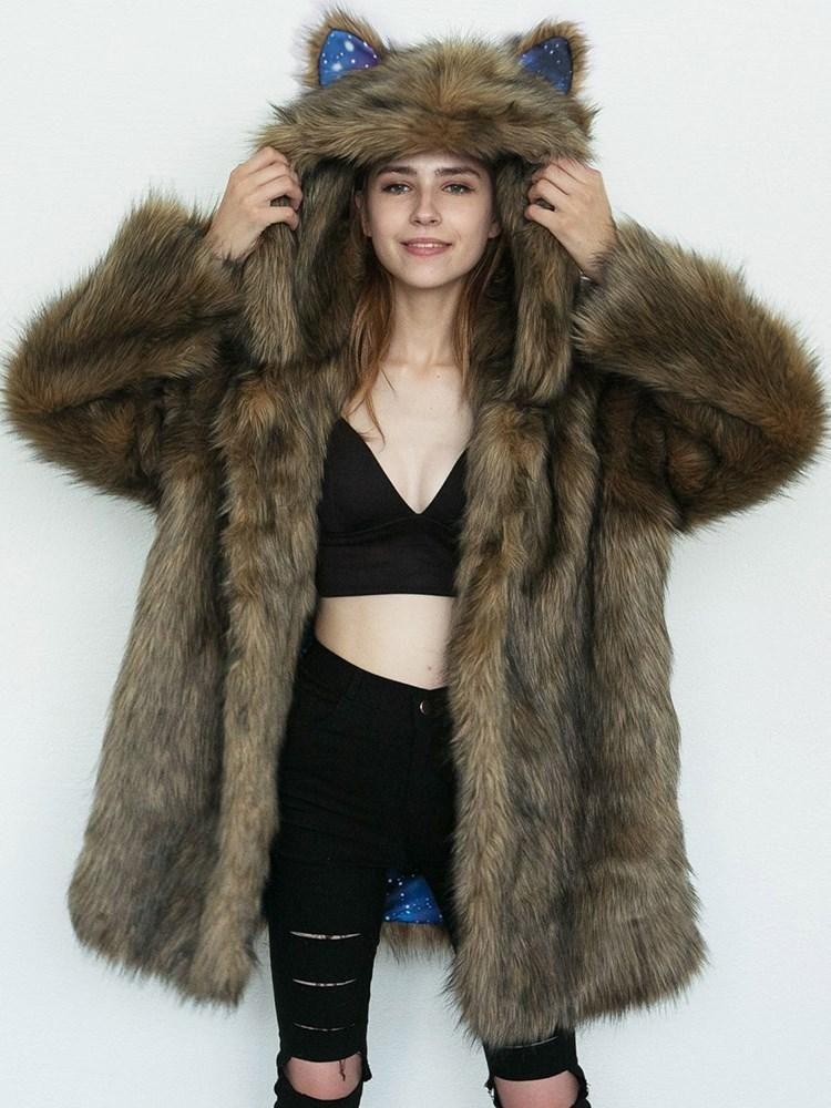 6dc412be5f1 Cute Cat Ears Hooded Faux Fur Women s Thick Overcoat – hebedress.com