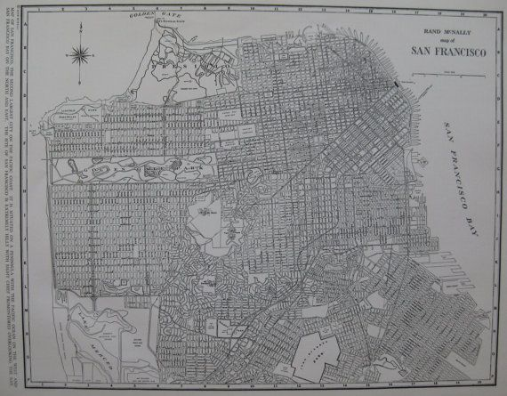 SAN FRANCISCO Map Vintage 1937 Black and White Map by plaindealing