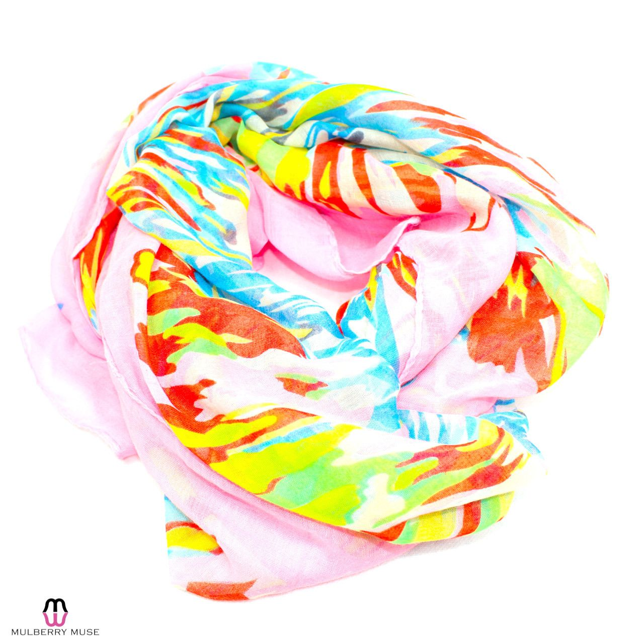 Multi Colored Abstract Floral Scarf