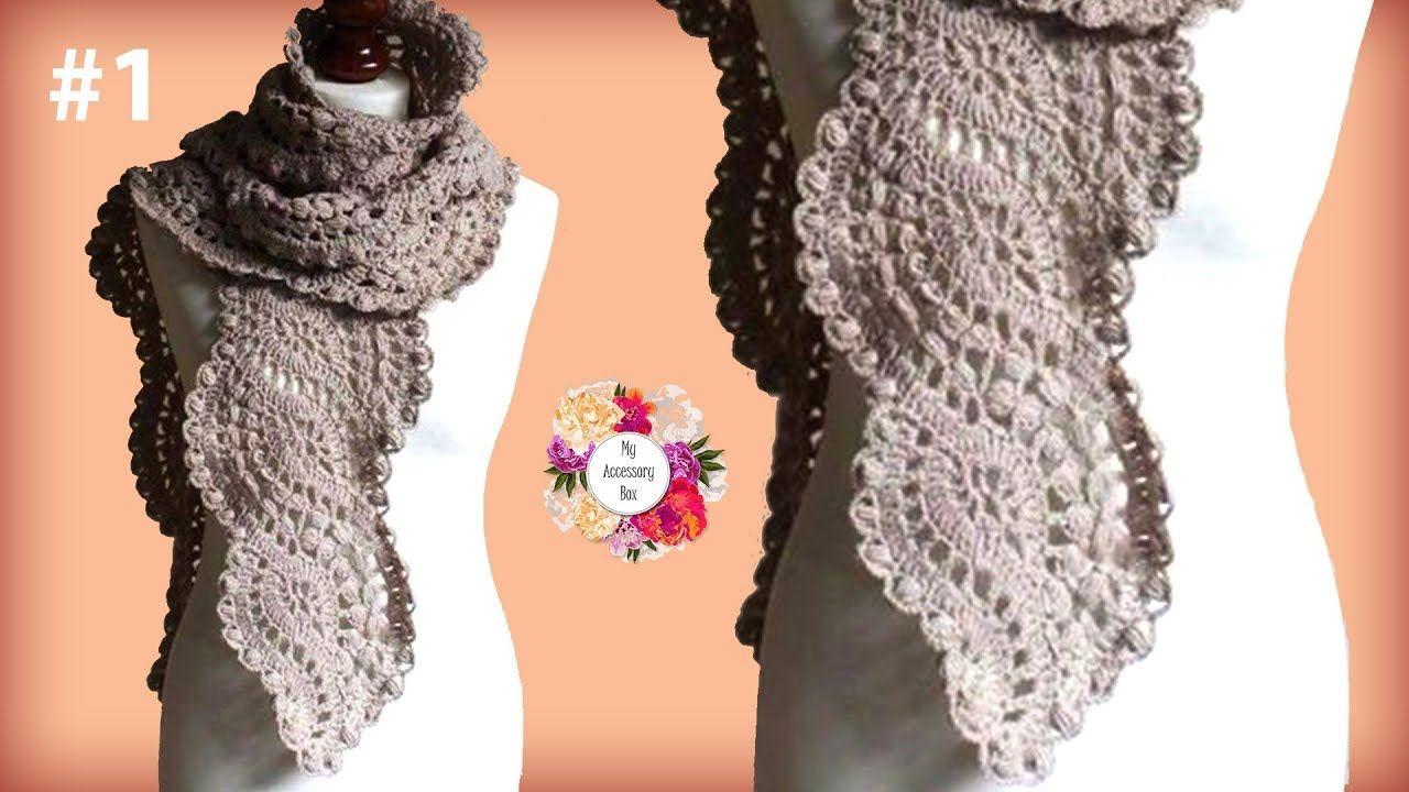 Wavy Crochet Lace Scarf Tutorial Part 1 Youtube Crochet
