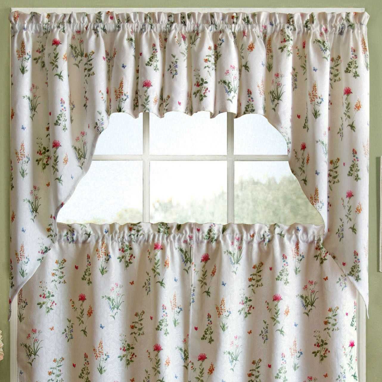 Sweet home collection english garden floral jacquard kitchen curtain valance reviews wayfair