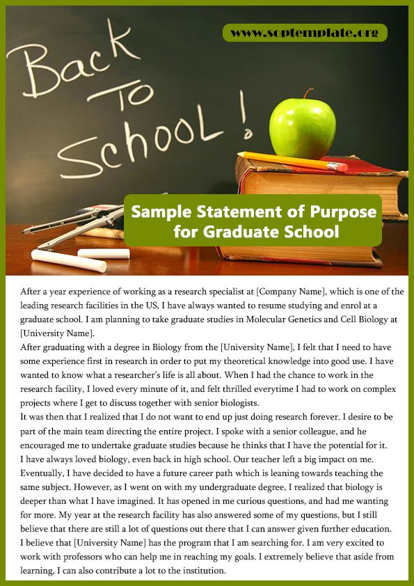 Sample Statement Of Purpose For Graduate School  College