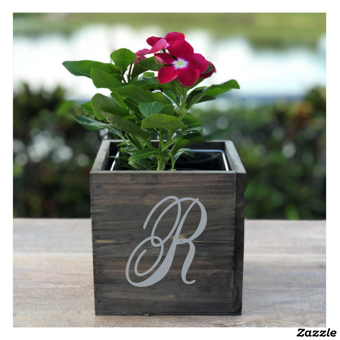 Initial Monogram Wooden Window Planter Box   Zazzle.com