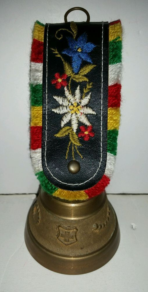 Vintage Swiss COW BELL Raised Decorations & Shield w/Cross Embroidered Strap