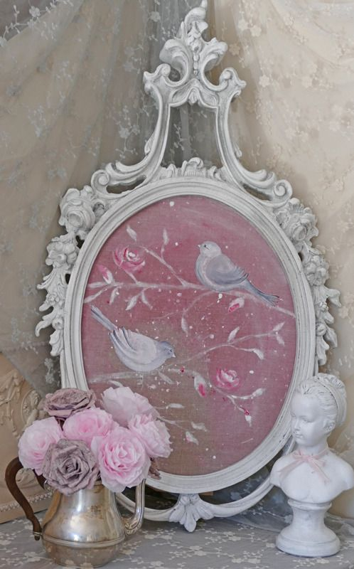 tableau shabby chic oiseaux et cadre romantique d corations murales par deco pinterest. Black Bedroom Furniture Sets. Home Design Ideas
