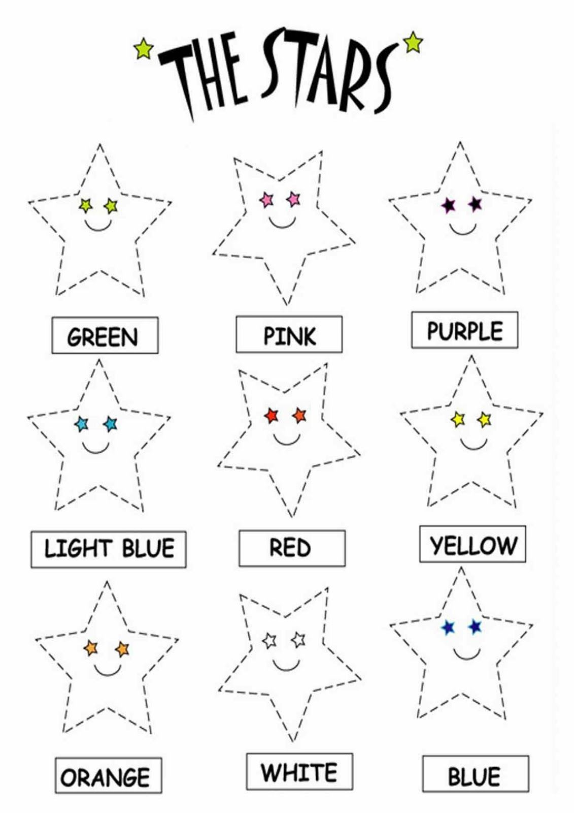 Color the stars worksheets Download free printable and – Kindergarten English Worksheets Free Printables