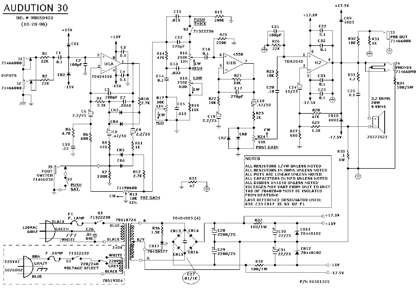 Peavey Classic 30 Sch Service Manual Download Schematics