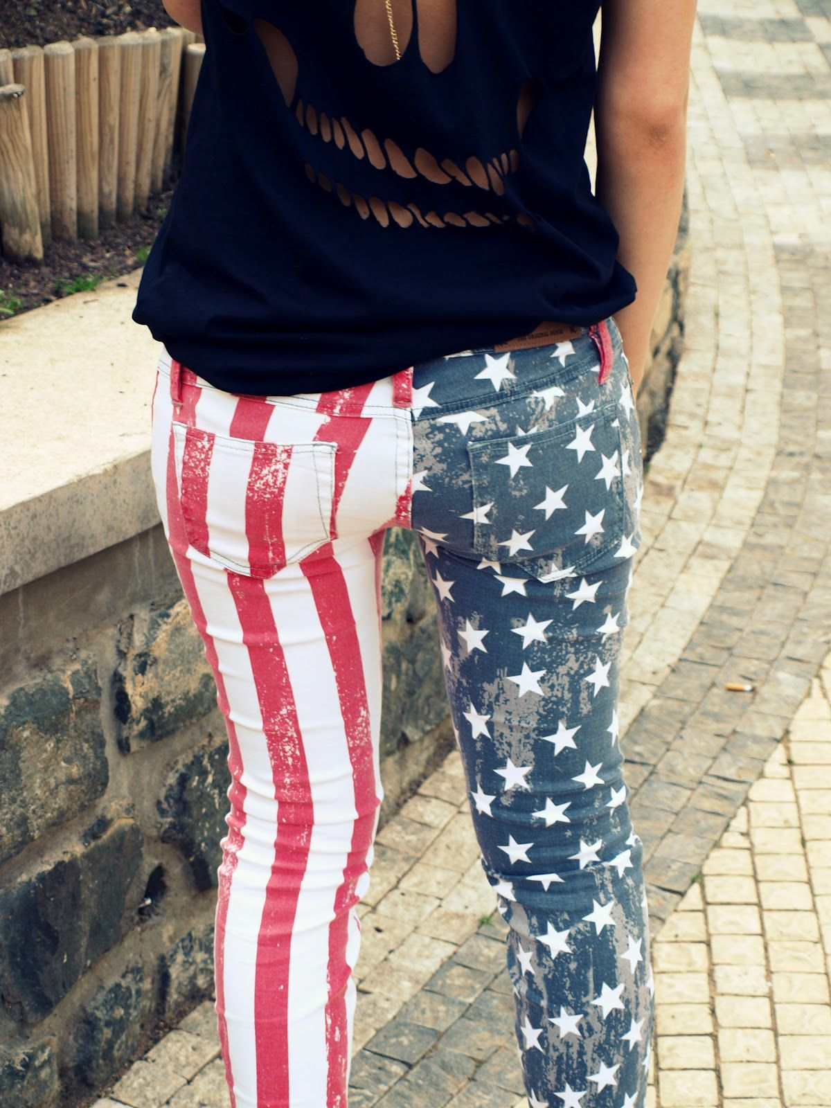 81791e10 Faded 'merican flag jeans. | USA! USA! | Fashion, Faded jeans, Tween ...