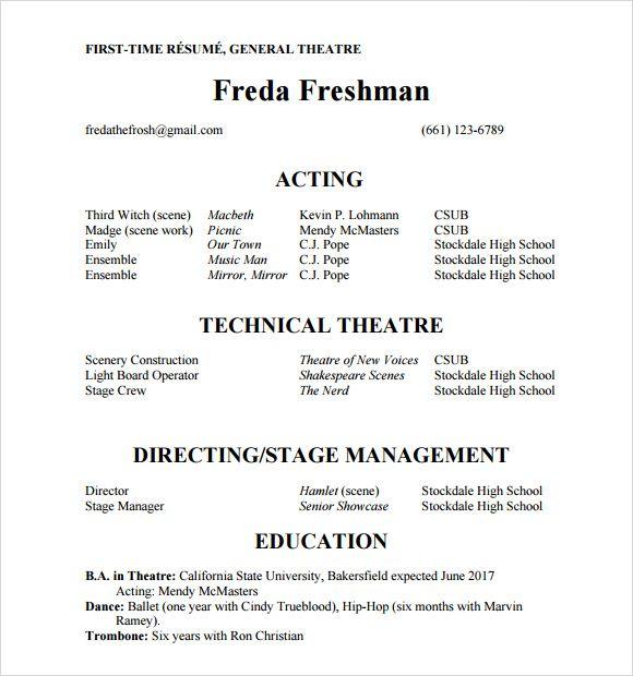 sample of actors resumes