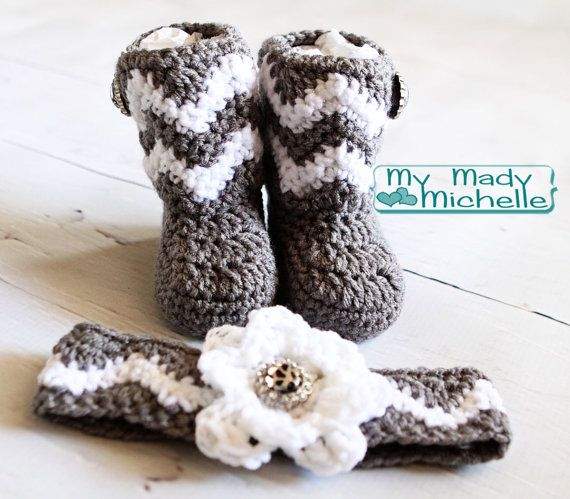 d37d6c4d57e 3 month Baby crochet Chevron Boots with matching headband and cute ...