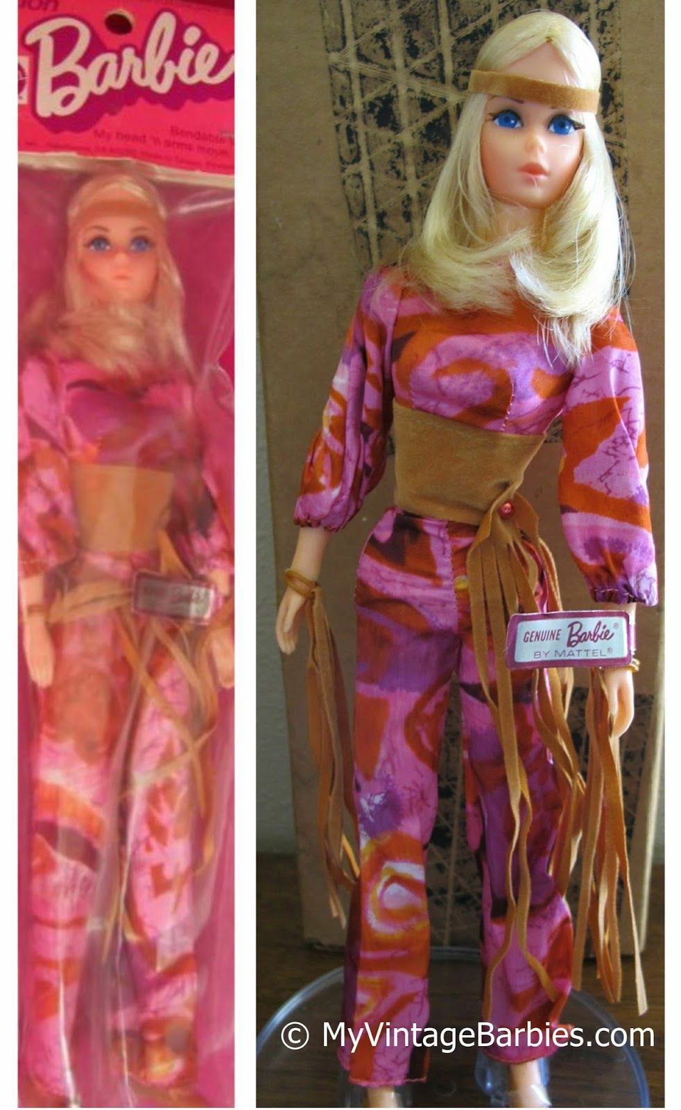 In 1973-1974 Mattel released a Live Action Baggie Version (#8588).  The company most likely had an excess of these dolls, so they sold them at a reduced rate in a baggie rather than a box.  The Baggie version did not include the stand.  There was a mail order version too, which did include the Touch and Go stand.