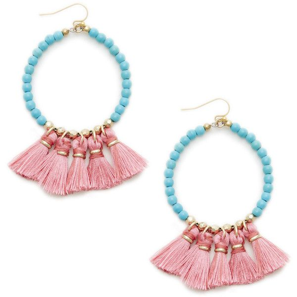Sole Society Womens Coasta Beaded Hoop Earrings Coral One Size From Sole Society pHKYo