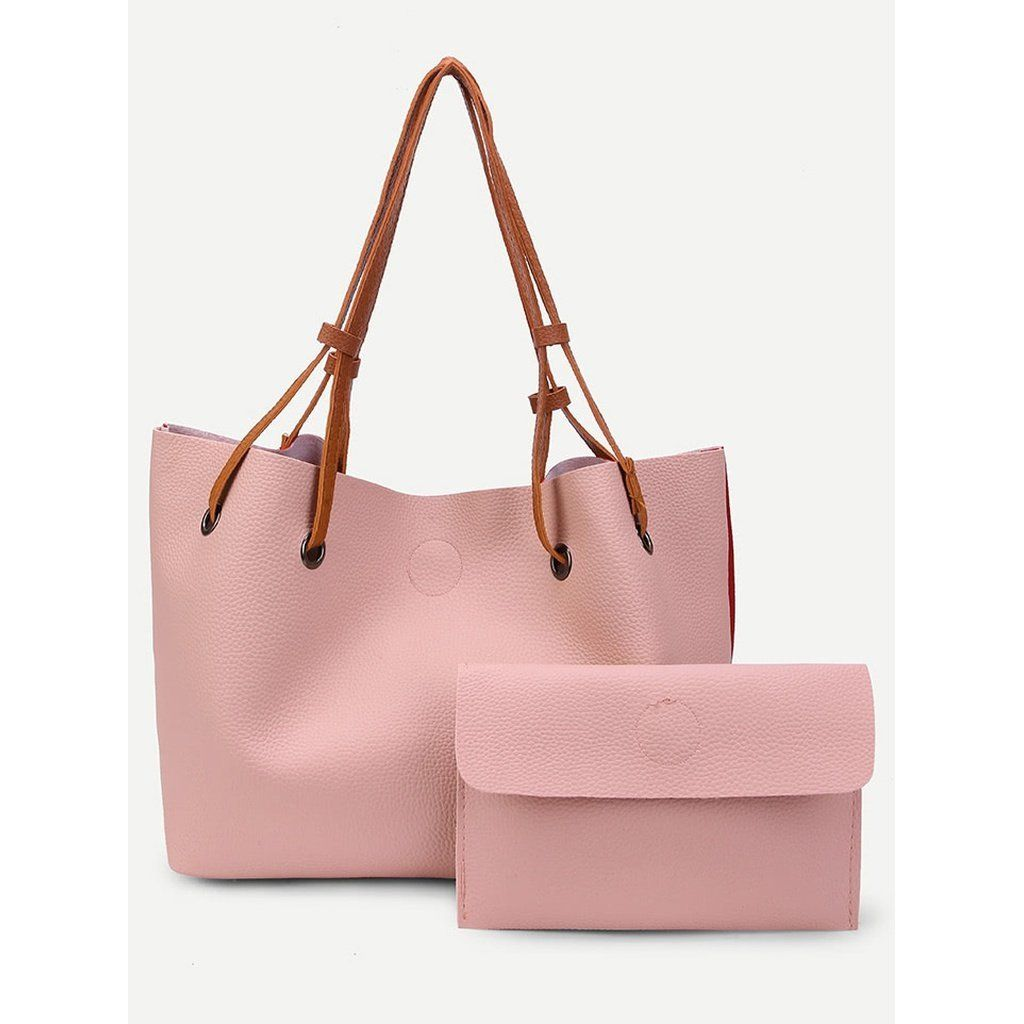 PU Drawstring Tote Bag With Clutch | Products | Pinterest | Tote bag ...