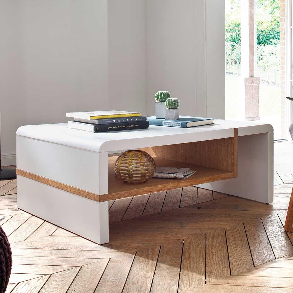Bezaubernd Couchtisch Massivholz Dekoration Von Wohnzimmertisch In Weiß Mit Eiche Jetzt Bestellen