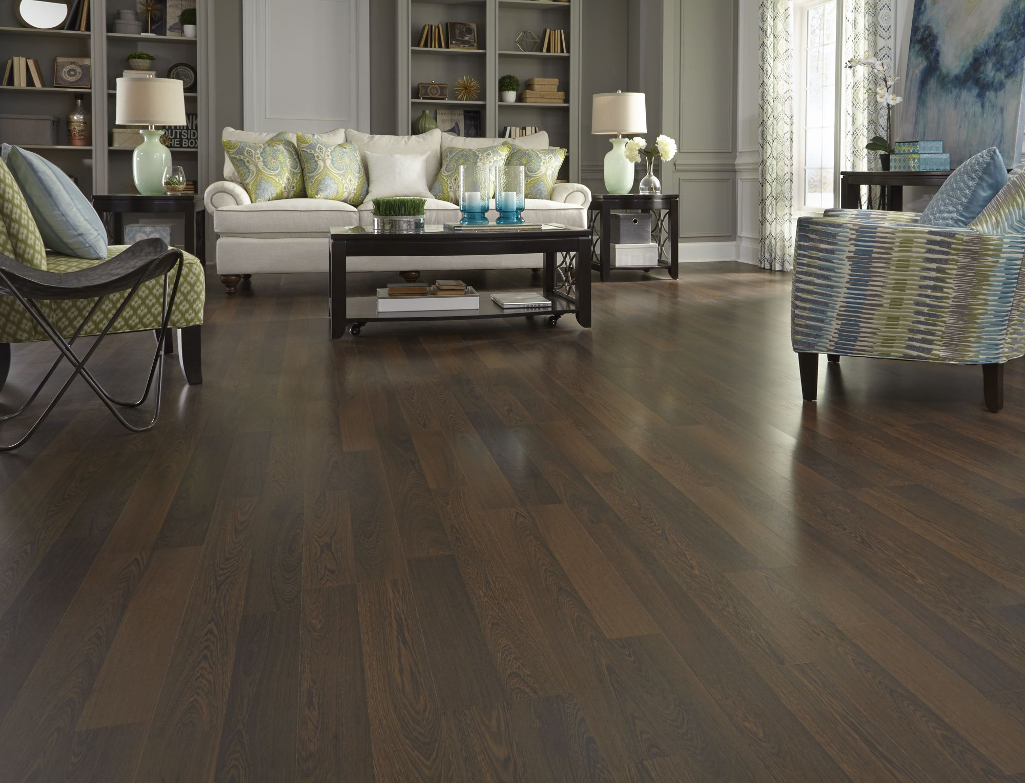 The look of exotic wood the easy install of laminate see this featured floor