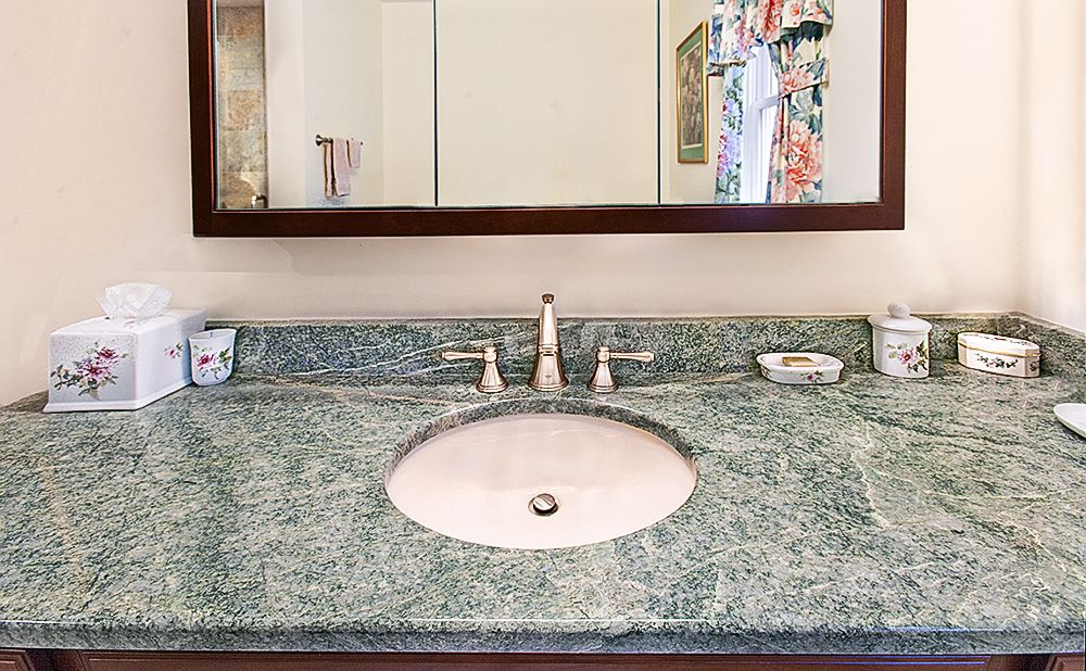 This Vanity Countertop In Costa Esmeralda Granite Is Simply Stunning And Provides For Plenty Of Counter Space I Vanity Countertop Countertops Stone Countertops