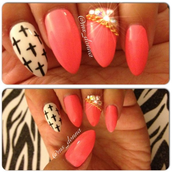 On Sale Pink With Black And White Cross Design Stiletto Press On