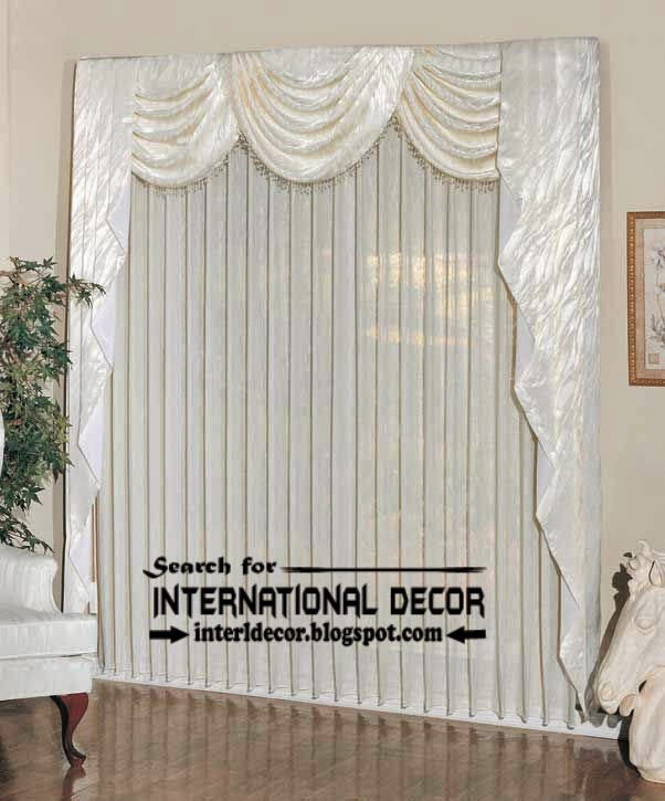 Contemporary White Curtain Panels And Valance, Door Panel Curtains