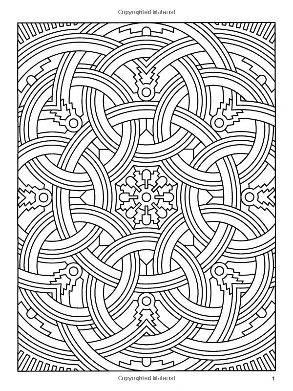 difficult geometric design coloring pages amazoncom deco tech geometric coloring book