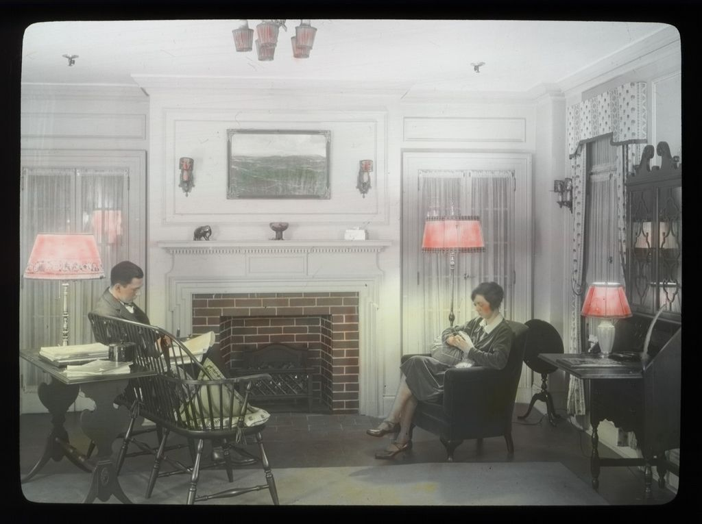 couple in living room, circa 1930s