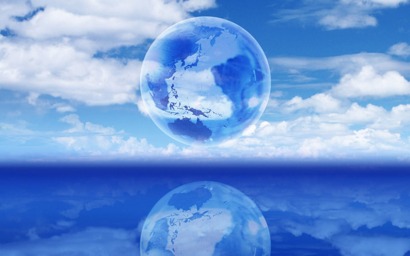 Globe On Clouds Blue Sky Backgrounds Wallpapers 1600x1000 Pixels