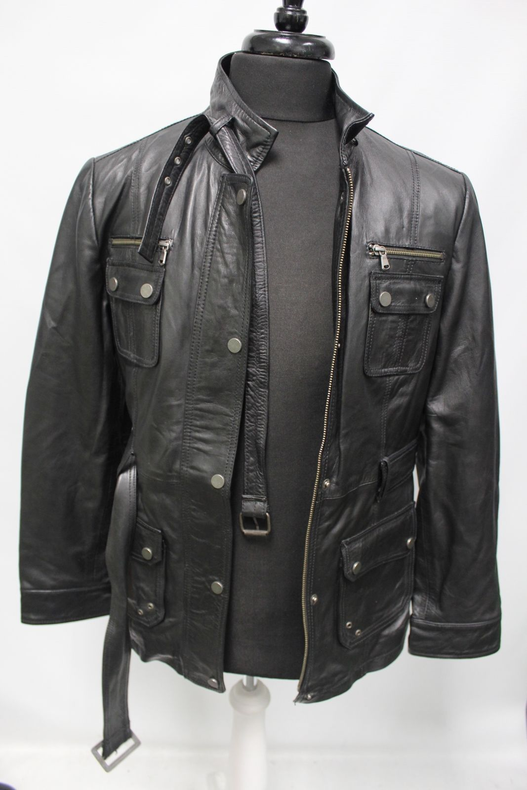 Men's CORTY Black Genuine Leather Jacket Size